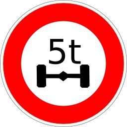 Panneau d'interdiction aux plus de 5 tonnes. Source : http://data.abuledu.org/URI/513774e2-panneau-d-interdiction-aux-plus-de-5-tonnes