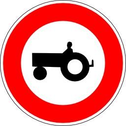 Panneau d'interdiction aux tracteurs. Source : http://data.abuledu.org/URI/51376d92-panneau-d-interdiction-aux-tracteurs