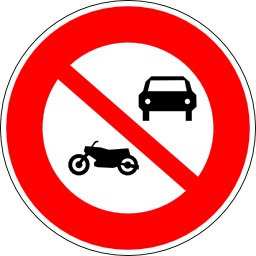Panneau d'interdiction aux véhicules à moteur. Source : http://data.abuledu.org/URI/51377197-panneau-d-interdiction-aux-vehicules-a-moteur