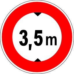 Panneau d'interdiction aux véhicules plus hauts que 3 mètres 50. Source : http://data.abuledu.org/URI/513775df-panneau-d-interdiction-aux-vehicules-plus-hauts-que-3-metres-50