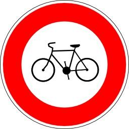 Panneau d'interdiction aux vélos. Source : http://data.abuledu.org/URI/5137703d-panneau-d-interdiction-aux-velos