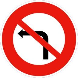 Panneau d'interdiction de tourner à gauche. Source : http://data.abuledu.org/URI/51377d69-panneau-d-interdiction-de-tourner-a-gauche
