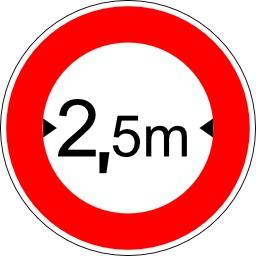 Panneau d'interdiction suivant la largeur des véhicules. Source : http://data.abuledu.org/URI/51377b49-panneau-d-interdiction-suivant-la-largeur-des-vehicules