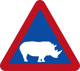 Panneau de risque de rhinocéros. Source : http://data.abuledu.org/URI/51379242-panneau-de-risque-de-rhinoceros