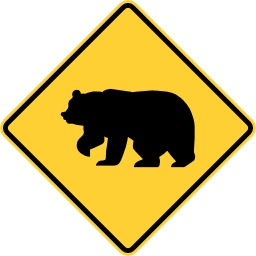 Panneau de risque de traversée d'ours. Source : http://data.abuledu.org/URI/513794eb-panneau-de-risque-de-traversee-d-ours