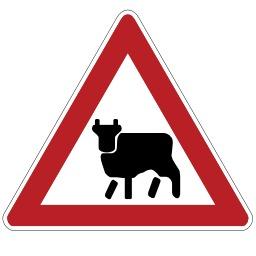 Panneau de risque de traversée de bétail. Source : http://data.abuledu.org/URI/513790d5-panneau-de-risque-de-traversee-de-betail