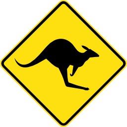 Panneau de risque de traversée de kangourou. Source : http://data.abuledu.org/URI/51379033-panneau-de-risque-de-traversee-de-kangourou