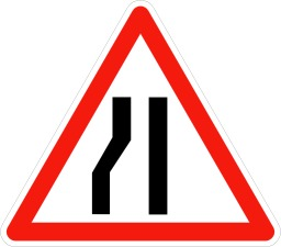 Panneau de signalisation de chaussée rétrécie. Source : http://data.abuledu.org/URI/5092f87d-panneau-de-signalisation-de-chaussee-retrecie
