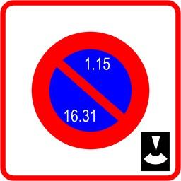 Panneau de stationnement alterné par quinzaine. Source : http://data.abuledu.org/URI/51377238-panneau-de-stationnement-alterne-par-quinzaine