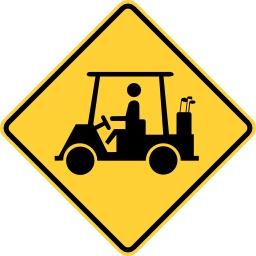 Panneau routier de risque de voiturette de golf. Source : http://data.abuledu.org/URI/513795cc-panneau-routier-de-risque-de-voiturette-de-golf