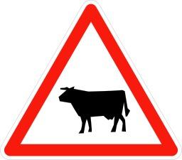 Panneau signalant le passage d'animaux. Source : http://data.abuledu.org/URI/509400e1-panneau-signalant-le-passage-d-animaux