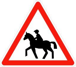 Panneau signalant le passage de cavaliers. Source : http://data.abuledu.org/URI/509401ce-panneau-signalant-le-passage-de-cavaliers