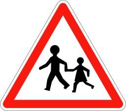 Panneau signalant un endroit fréquenté par les enfants. Source : http://data.abuledu.org/URI/5093fef0-panneau-signalant-un-endroit-frequente-par-les-enfants