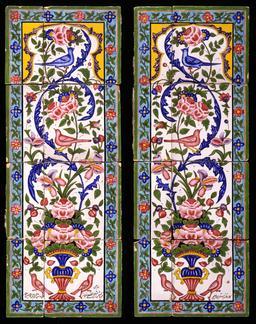 Panneaux de faïence iraniens. Source : http://data.abuledu.org/URI/530c78cb-panneaux-de-faience-iraniens