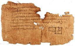 Papyrus avec un fragment des Éléments d'Euclide. Source : http://data.abuledu.org/URI/47f41b0f-papyrus-avec-un-fragment-des-l-ments-d-euclide