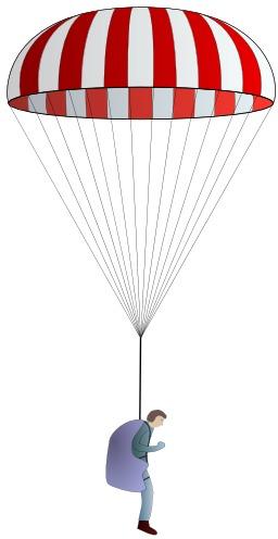 Parachute coupole de secours. Source : http://data.abuledu.org/URI/50b12257-parachute-coupole-de-secours