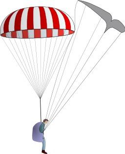 Parachute de secours - parapente neutralisé. Source : http://data.abuledu.org/URI/5399cfc9-parachute-de-secours-parapente-neutralise