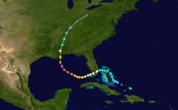 Parcours de l'ouragan Katrina 2005. Source : http://data.abuledu.org/URI/52c83fe6-parcours-de-l-ouragan-katrina-2005