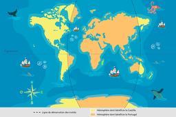 Partage du monde entre Castille et Portugal en 1494. Source : http://data.abuledu.org/URI/55a285a7-partage-du-monde-entre-castille-et-portugal-en-1494