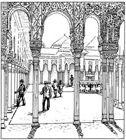 Patio des lions de l'Alhambra. Source : http://data.abuledu.org/URI/53eb8658-patio-des-lions-de-l-alhambra