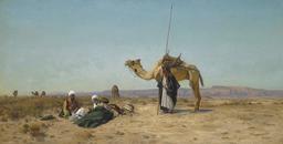 Pause dans le désert syrien en 1883. Source : http://data.abuledu.org/URI/58f3d3ca-pause-dans-le-desert-syrien-en-1883