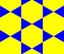 Pavage d'hexagones et de triangles. Source : http://data.abuledu.org/URI/50bc1b24-pavage-d-hexagones-et-de-triangles