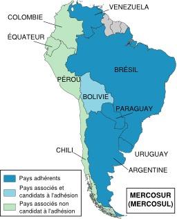 Pays adhérents au Mercosur. Source : http://data.abuledu.org/URI/51d09458-pays-adherents-au-mercosur