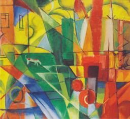 Paysage avec maison, chien et bétail. Source : http://data.abuledu.org/URI/52f01bf0-paysage-avec-maison-chien-et-betail