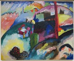 Paysage de Kandinsky en 1910. Source : http://data.abuledu.org/URI/58597fd1-paysage-de-kandinsky-en-1910