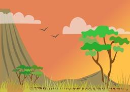 Paysage stylisé de savane - 02. Source : http://data.abuledu.org/URI/53f8d4bf-paysage-de-savane-02