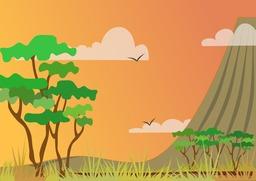 Paysage stylisé de savane - 01. Source : http://data.abuledu.org/URI/53f8d45a-paysage-stylise-de-savane-01