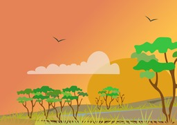 Paysage stylisé de savane - 03. Source : http://data.abuledu.org/URI/53f8d50c-paysage-stylise-de-savane-03