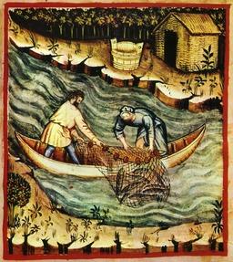 Pêche en rivière au Moyen Age. Source : http://data.abuledu.org/URI/50c9b315-peche-en-riviere-au-moyen-age