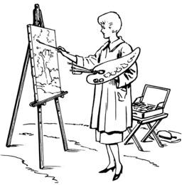 Peintre et chevalet. Source : http://data.abuledu.org/URI/5389badc-peintre-et-chevalet