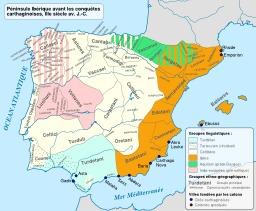 Péninsule ibérique avant la conquête carthaginoise. Source : http://data.abuledu.org/URI/51d3f2cb-peninsule-iberique-avant-la-conquete-carthaginoise