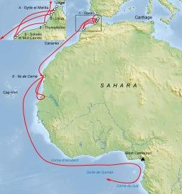 Périple de Hannon en Afrique. Source : http://data.abuledu.org/URI/53b401d5-periple-de-hannon-en-afrique