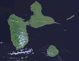 Photo satellite de la Guadeloupe. Source : http://data.abuledu.org/URI/5295f10d-photo-satellite-de-la-guadeloupe
