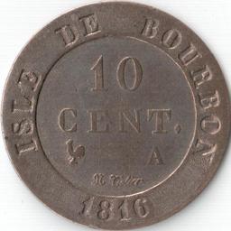 Pièce de 10 centimes de 1816 de l'Isle de Bourbon. Source : http://data.abuledu.org/URI/521b73e5-piece-de-10-centimes-de-1816-de-l-isle-de-bourbon