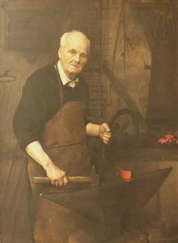 Pierre Boulanger à sa forge en 1889. Source : http://data.abuledu.org/URI/53e39423-pierre-boulanger-a-sa-forge-en-1889