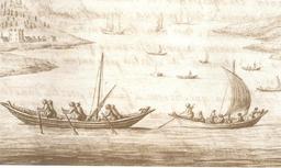 Pinasses d'Arcachon en 1727. Source : http://data.abuledu.org/URI/505ca702-pinasses-d-arcachon-en-1727