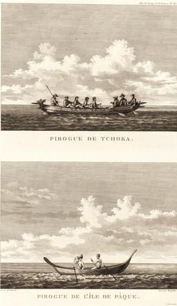 Pirogue de l'île de Pâques en 1797. Source : http://data.abuledu.org/URI/59913124-pirogue-de-l-ile-de-paques-en-1797