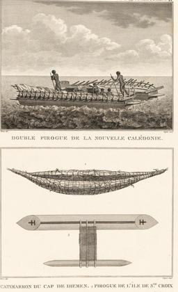 Pirogue de Nouvelle-Calédonie en 1797. Source : http://data.abuledu.org/URI/5990edb6-pirogue-de-nouvelle-caledonie-en-1797