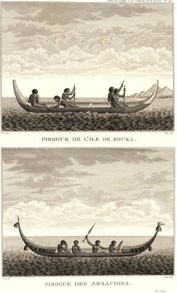 Pirogues vues par Lapérouse en 1797. Source : http://data.abuledu.org/URI/5990ece2-pirogues-vues-par-laperouse-en-1797