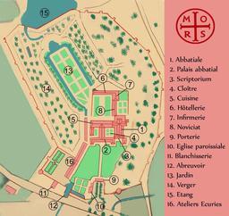 Plan de l'abbaye cistercienne de Morimond en 1789. Source : http://data.abuledu.org/URI/5701256f-plan-de-l-abbaye-cistercienne-de-morimond-en-1789