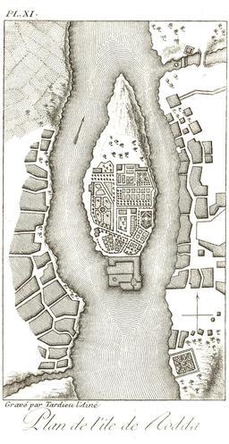 Plan de l'île de Rodah au Caire en 1799. Source : http://data.abuledu.org/URI/591e28ec-plan-de-l-ile-de-rodah-au-caire-en-1799