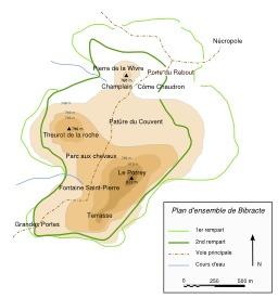Plan de l'oppidum de Bibracte. Source : http://data.abuledu.org/URI/5079a990-plan-de-l-oppidum-de-bibracte