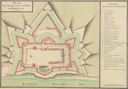 Plan du Château Trompette à Bordeaux en 1753. Source : http://data.abuledu.org/URI/55475e69-plan-du-chateau-trompette-a-bordeaux-en-1753