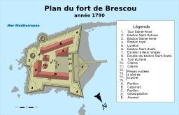 Plan du fort Brescou à Agde en 1790. Source : http://data.abuledu.org/URI/51ca28b7-plan-du-fort-brescou-a-agde-en-1790