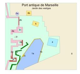 Plan du Jardin des vestiges à Marseille. Source : http://data.abuledu.org/URI/547746d5-plan-du-jardin-des-vestiges-a-marseille