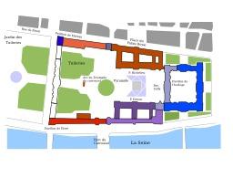 Plan du Louvre et des Tuileries. Source : http://data.abuledu.org/URI/50acd482-plan-du-louvre-et-des-tuileries